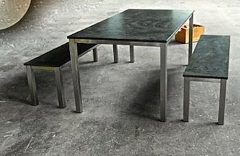 edelstahltische granittische. Black Bedroom Furniture Sets. Home Design Ideas